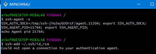 "解决git bash中执行""ssh-add pathName""时出现""Could not open a connection to your authentication agent."""